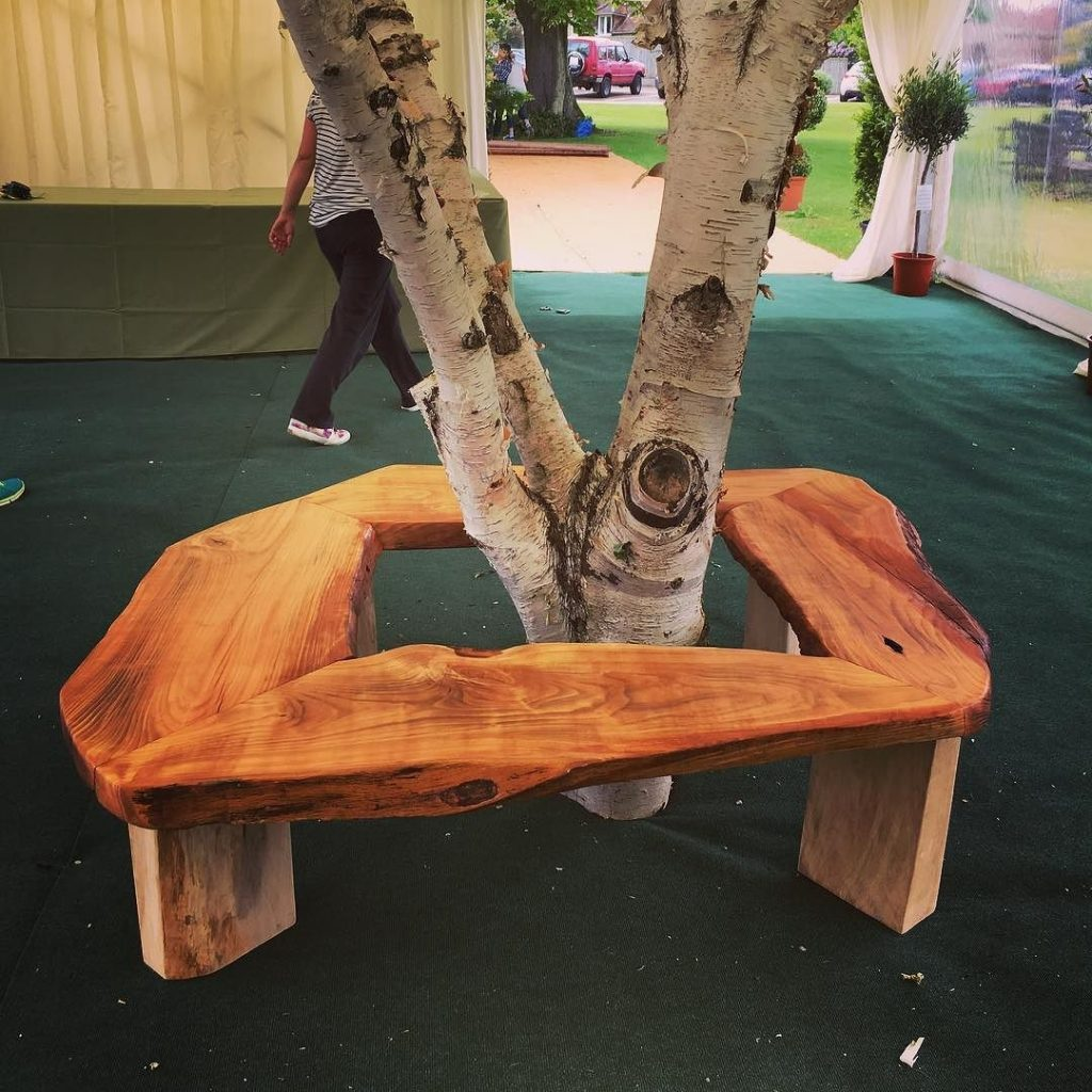 Cherry bench round a Silver Birch I made recently. #blaiseintrees #waneyedge #liveedge #bespoke #handmade