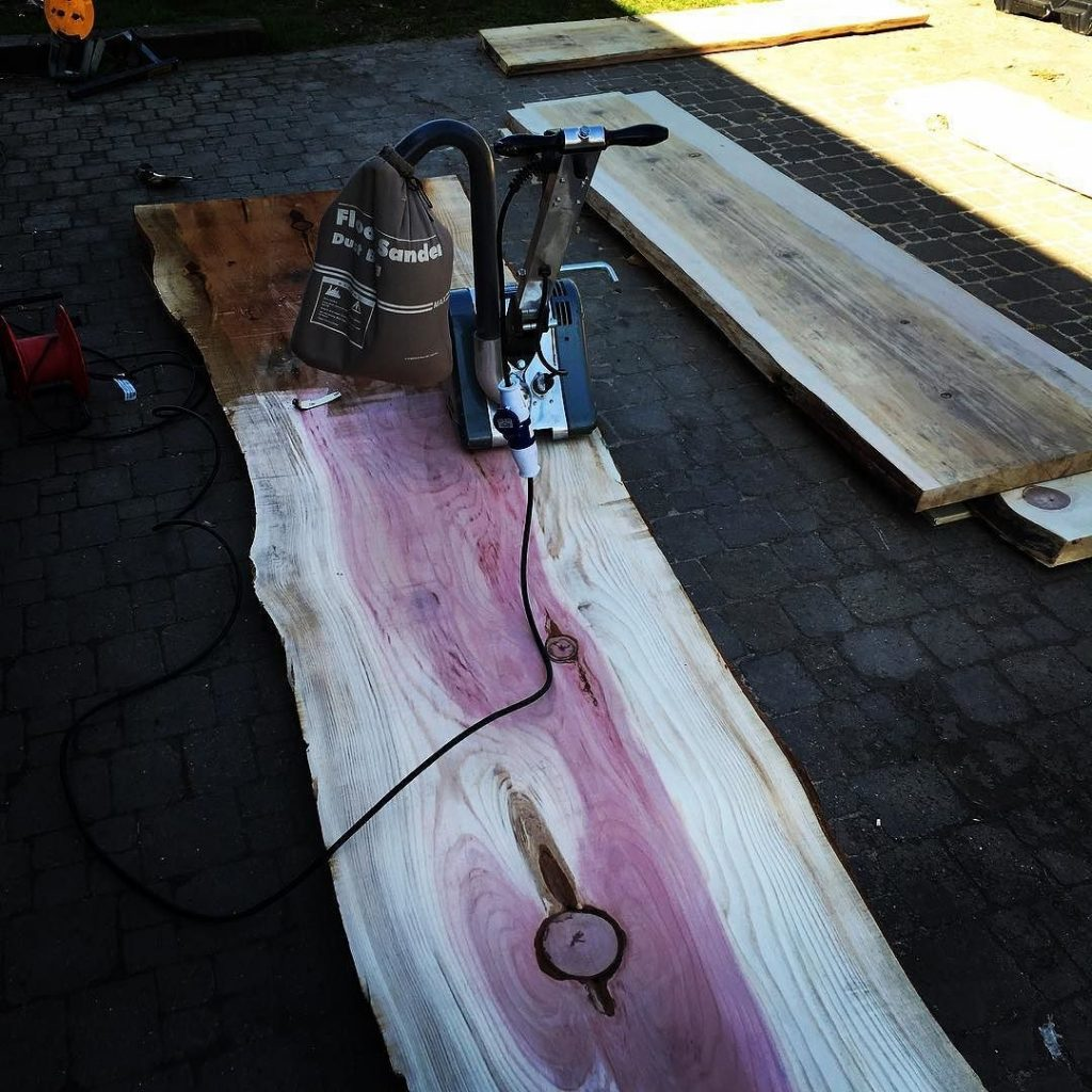Floor sander for this beauty of a slab 4 meters long and over a meter wide. #redwood #alaskanmill #liveedge