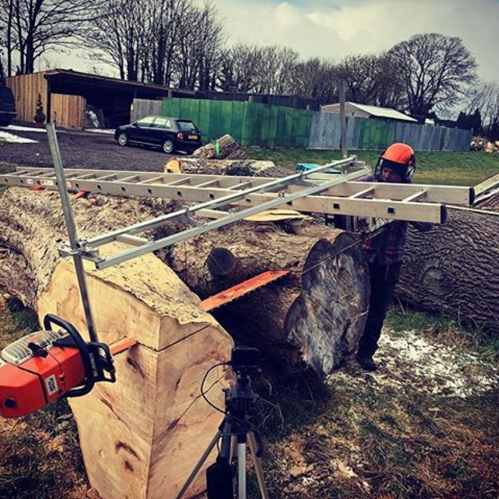 "Superb day on the double Alaskanmill with the long uprights and the 87"" bar maxed on a big Sycamore. A truly genius bit of kit. #alaskanmill #sawmillbusiness"