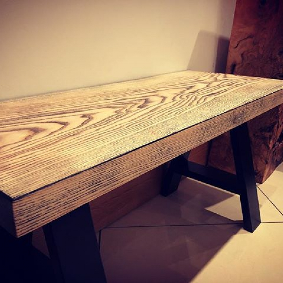 Ash bench or coffee table done #alaskanmill #sawmillbusiness #woodwork