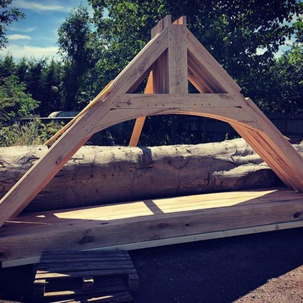 Oak trusses in the yard. #alaskanmill @granberginternational #granbergambassador