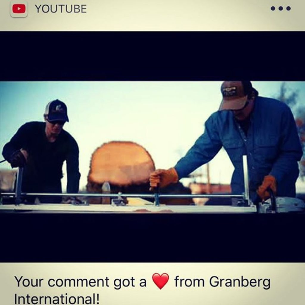 Life goal achieved! @granberginternational chainsaw mill changed my life forever, a superb family company I'm proud to have an association with.