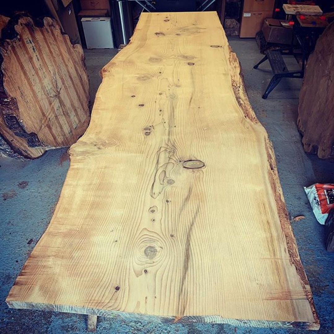 Massive Cedar slab cut with @granberginternational mill rough sanded and ready for delivery and fitting tomorrow. #granberginternational #sawmillbusiness