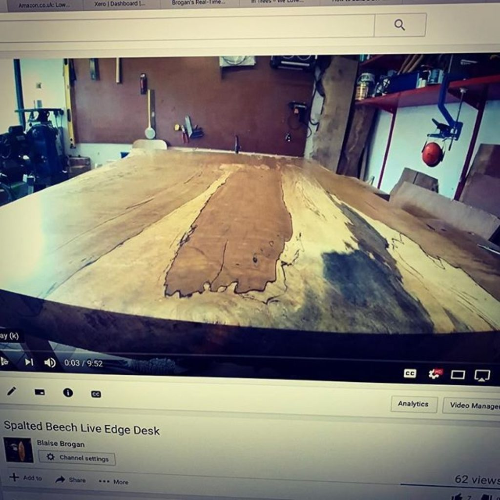 New video of how I made a Spalted Beech desktop on my YouTube. #granberginternational #sawmillbusiness #uktimber