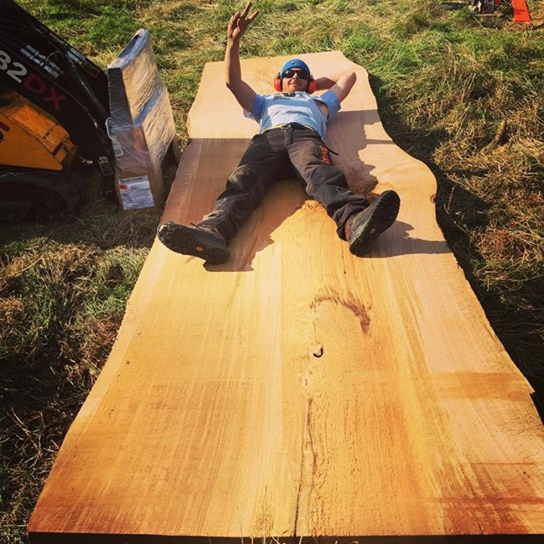 Oak slabs ready to go for your next project. #granberginternational #sawmill #chainsawmill #interiordesign #designer #stihl #arborist #woodpreneur